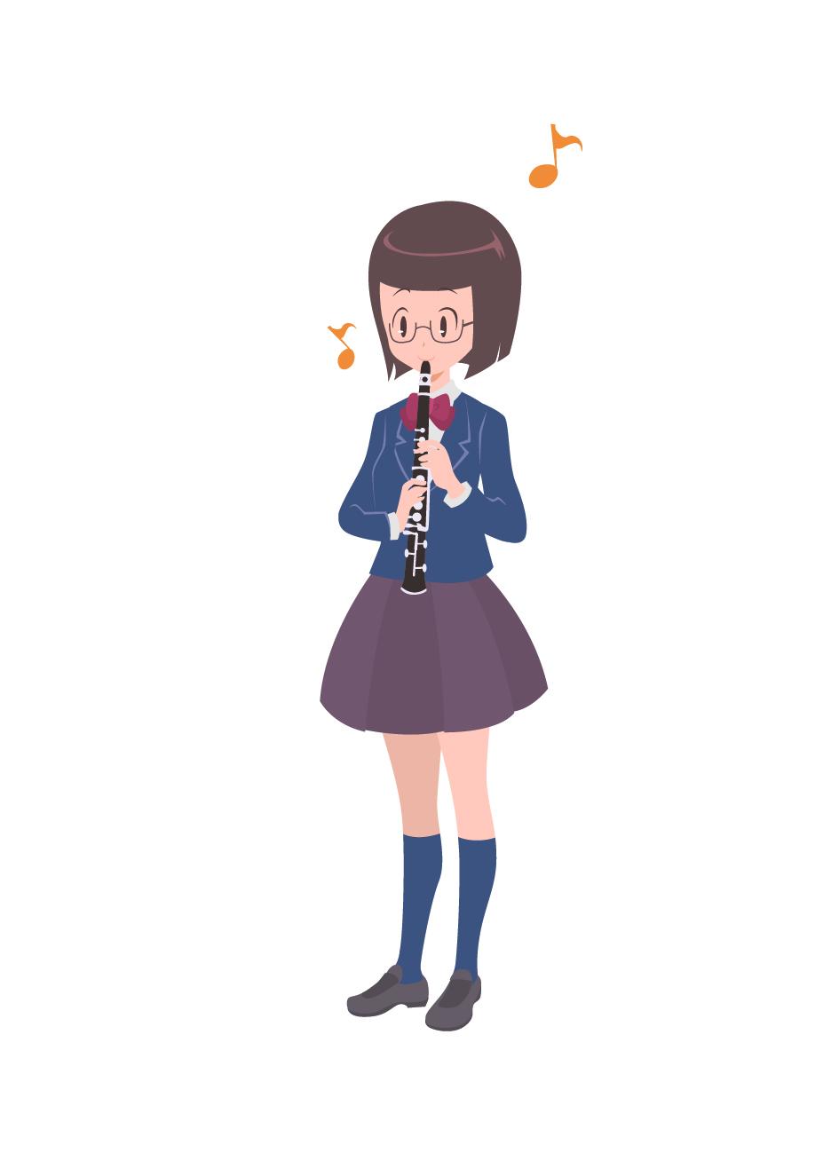 クラリネットを吹く女子