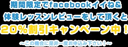 フェイスブックでイイネ&体験レッスンレビューをして頂くと20%割引キャンペーン中