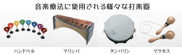 音楽療法に使用される様々な打楽器